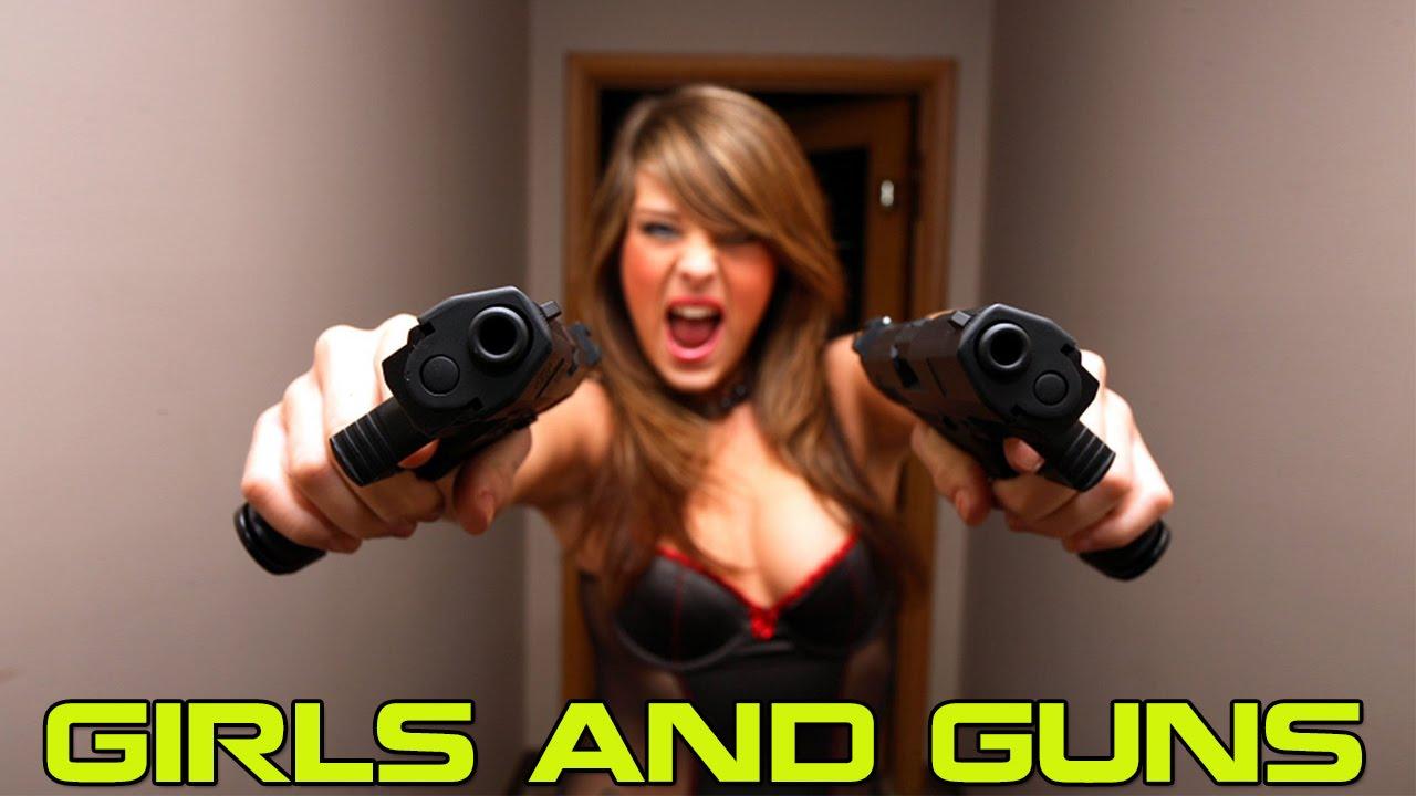 Nake with gun girl