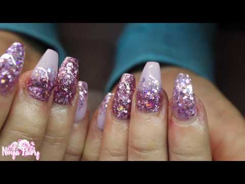 LILAC BLING GLITTER NAILS ♡