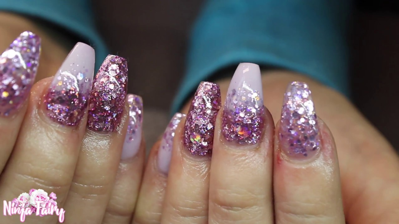 lilac bling glitter nails