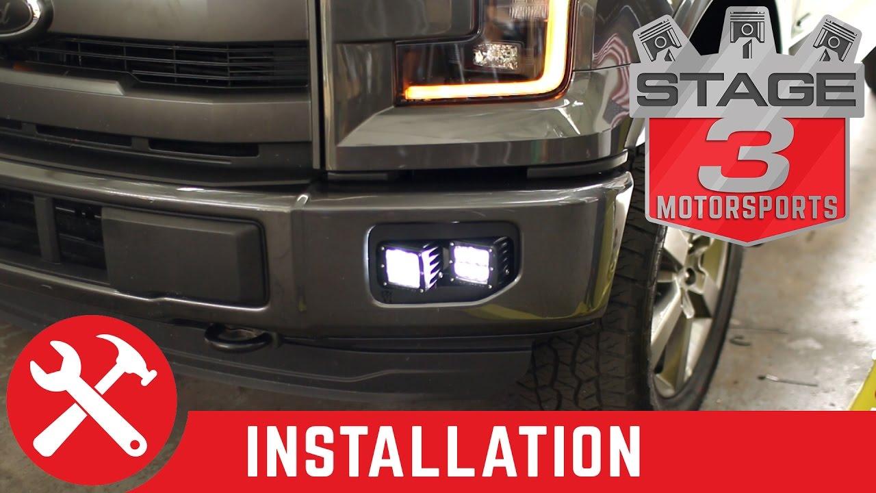 2015 2017 f 150 rigid industries dual d series fog light bucket mounts install youtube [ 1280 x 720 Pixel ]