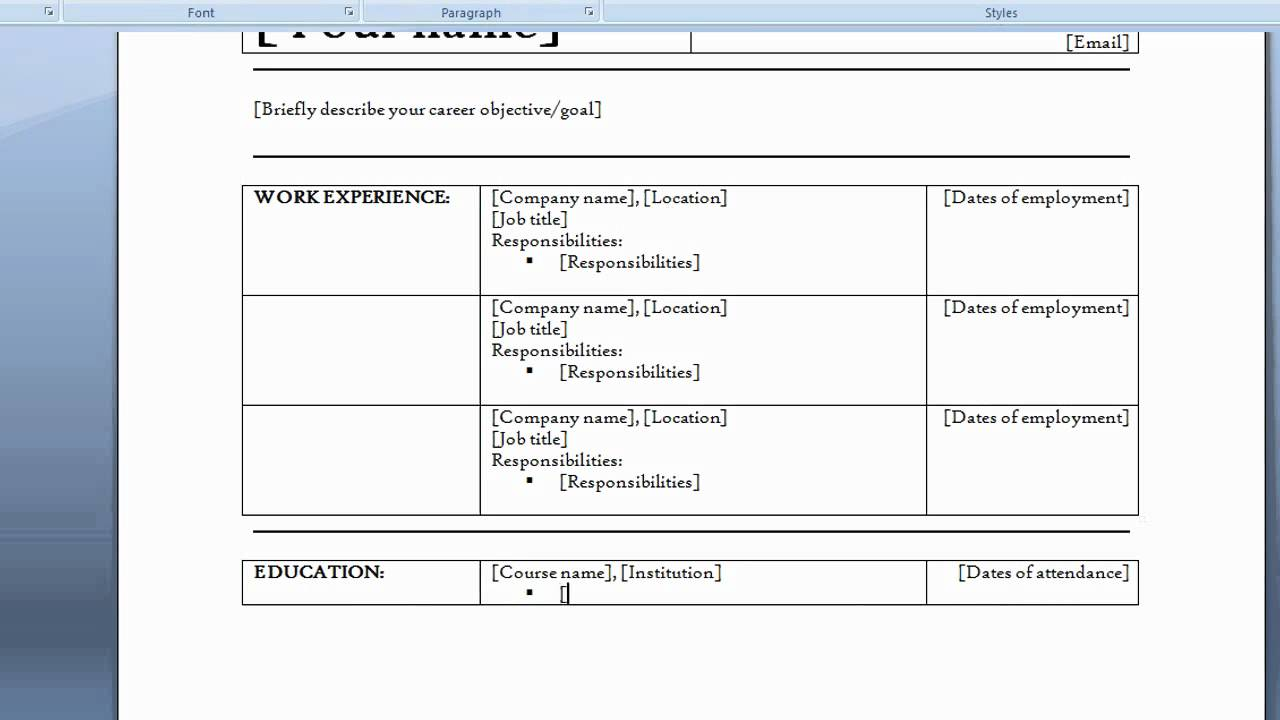 resume in ms word 2007