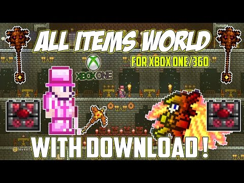Terraria - Xbox One All Items World 1.2.4.1 ( Modded Items And Stacks ) - With Download Link !