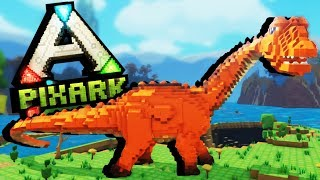 First Dinosaur Taming and Skeleton Dungeon Raid! - PixArk Gameplay - Pixark Ep. 1