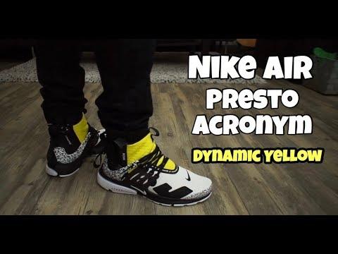 uk availability 5e334 30042 Nike Presto Acronym  Dynamic Yellow On Foot