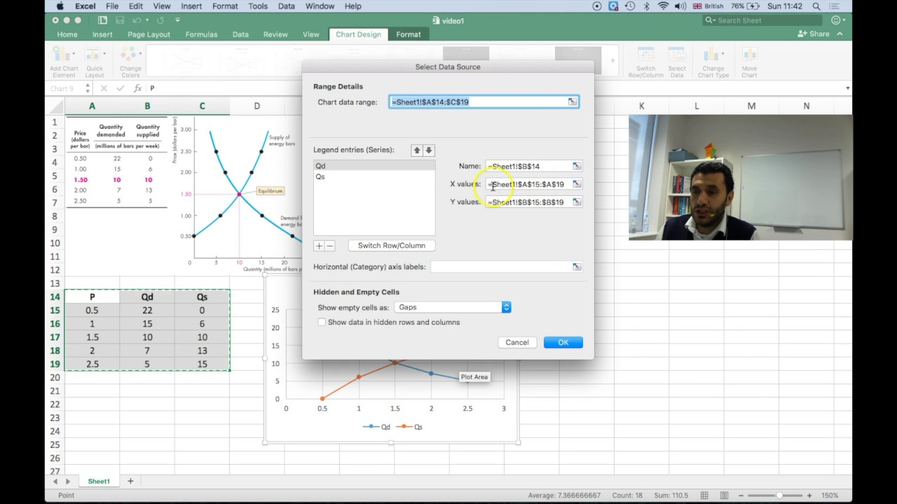 MN1015 How to draw demand and supply curves in Excel