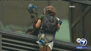 FULL VIDEO: Trump Tower climber livestream. Steve from Virginia. August 10, 2016(SKIP TO 1:52:25 TO SEE THE CLIMBER PULLED INSIDE THE BUILDING.--- A man began scaling the all-glass facade of Trump Tower on Wednesday using ..., 2016-08-10T23:52:24.000Z)