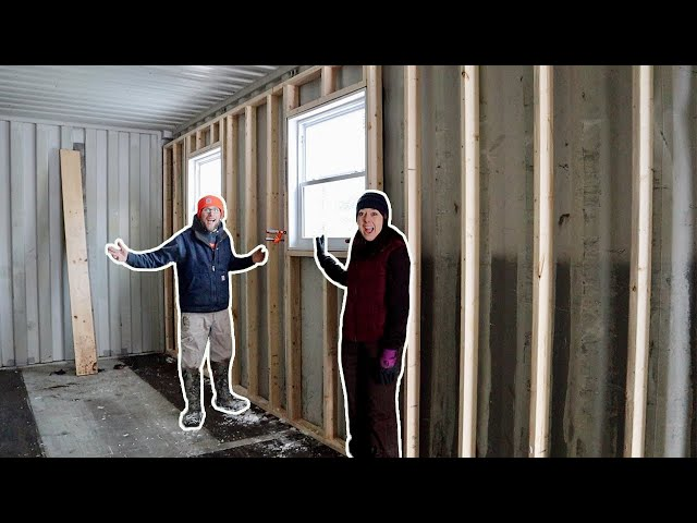 Husband & Wife Build Off-Grid Shipping Container Cabin in the WOODS Framing the Exterior Window Wall