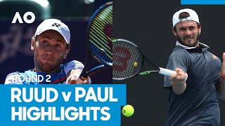 Casper Ruud vs Tommy Paul Match Highlights (2R)
