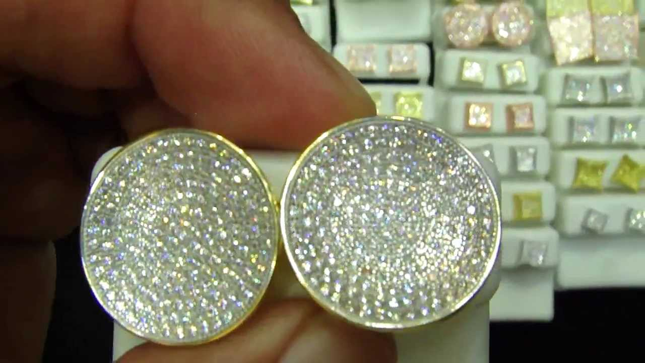 Real Lab Diamond Custom Designer Earrings At Master Of Bling Back Micro Pave