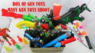 Box Of Gun Toys - Many Gun Toys Shoot And Playing With Sound - Many Colored Gun Toys