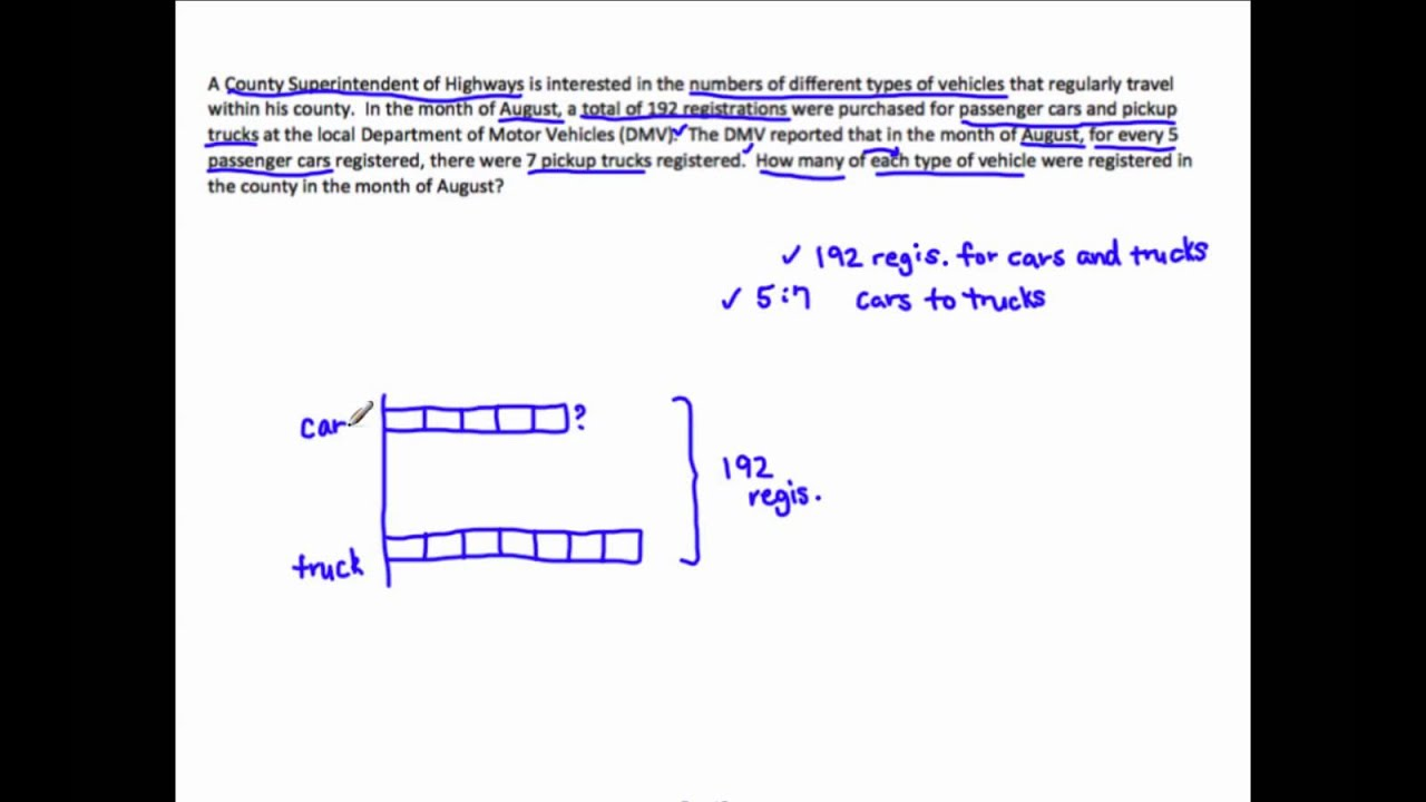 6RP3  Solve Word Problems Using Tape Diagrams  YouTube