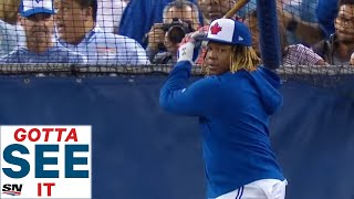 Vladimir Guerrero Jr. took his long anticipated first batting practice and did not disappoint with some huge home runs. His father, Vladimir Guerrero watched the ...