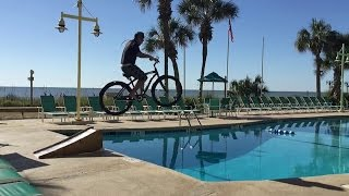 Jumping the Beach Cruiser into the hotel pool
