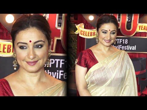 Divya Dutta gorgeous in saree at '40 years Celebration of Prithvi Theatre Festival' in Juhu, Mumbai.