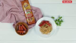 MAKFA | Рецепты | Цельнозерновые спагетти с колбасками