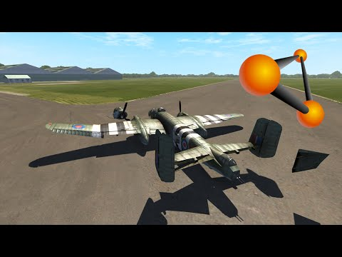 BeamNG drive - B-25 Bomber Landing Attempts/Crashes | Top Gear Test Track