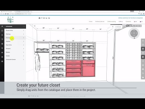 Designing a walk-in closet or reach-in wardrobe in online 3D planner PRODBOARD