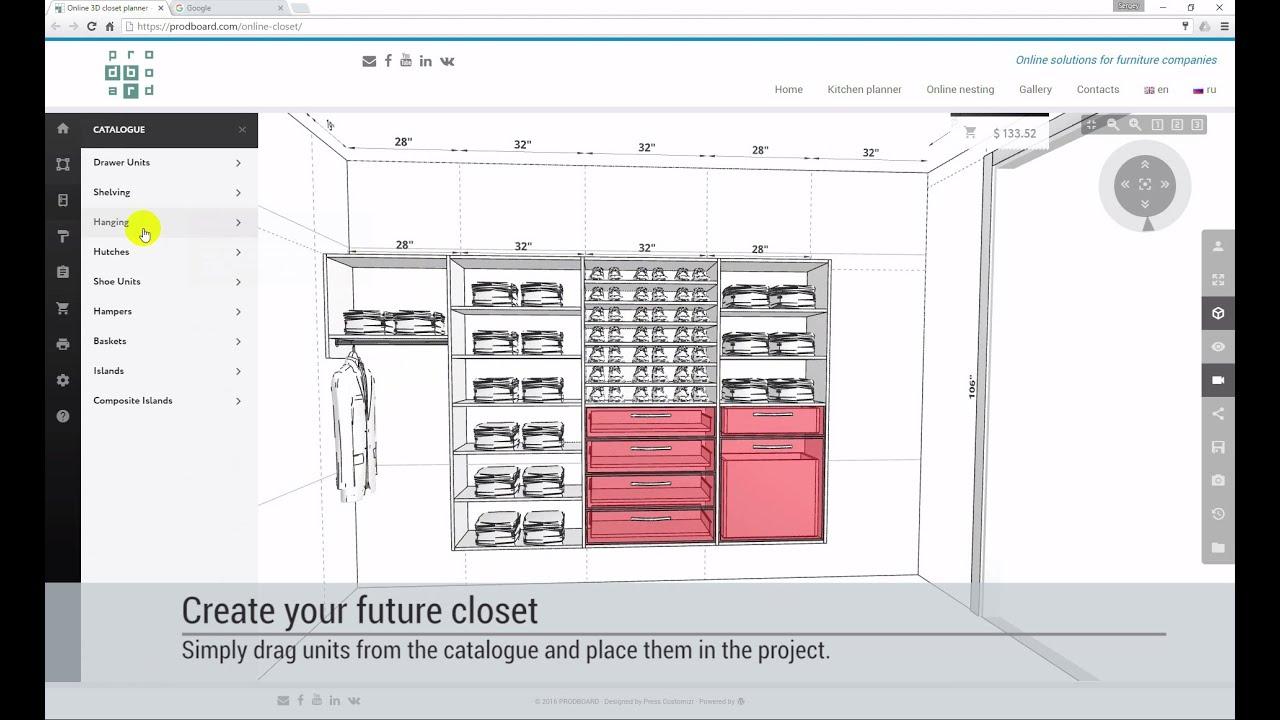 Designing a walk in closet or reach in wardrobe in online for 3d wardrobe planner