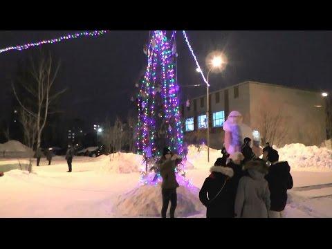 Новосибирск, микрорайон Снегири, Новогодняя ёлка 2015 2016, снежный городок, 5-й микрорайон