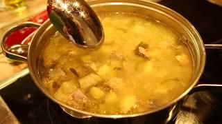 Еда для опохмела - калья, салат с жареной грудинкой и печёный картофель.
