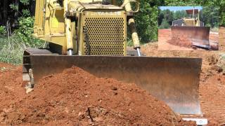 Fiat Allis FD7 Dozer and Fiat Allis FL10C Loader Pushing Dirt