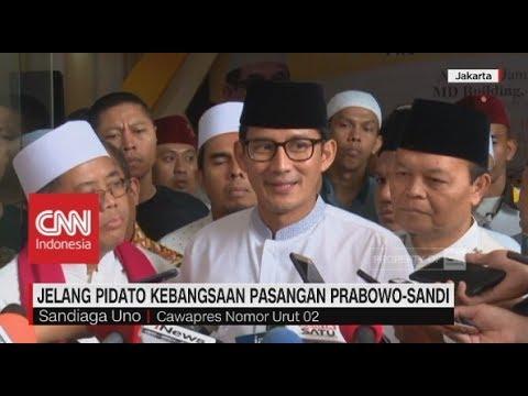 Jelang Pidato Kebangsaan Pasangan Prabowo-Sandi