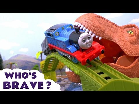 Thomas and Friends brave stories with dinosaurs and Kinder Surprise Eggs - Toys for kids TT4U