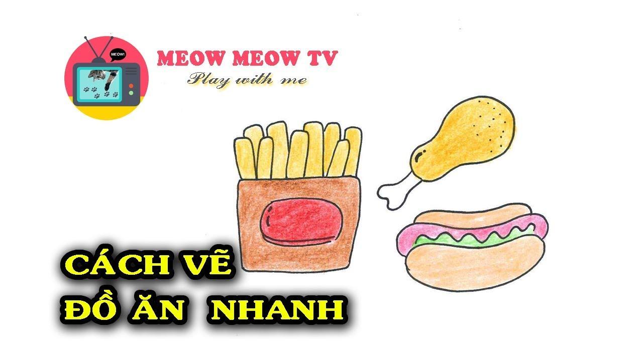 [MEOW MEOW TV] Cách vẽ và tô màu thức ăn nhanh – 패스트 푸드 그리기