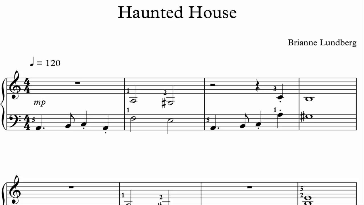 Halloween piano sheet music haunted house youtube for House music maker