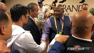 KEITH THURMAN'S DAD CONGRATULATES MANNY PACQUIAO ON BEATING HIS SON AFTER FIGHT