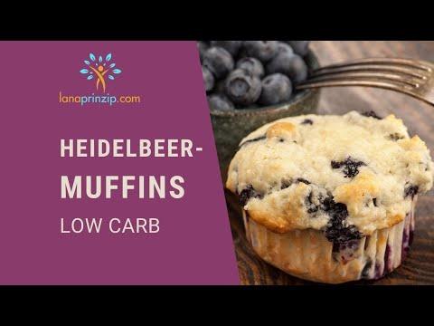 Ein gesundes low Carb und glutenfreies Heidelbeer (Blaubeer) Muffins Rezept ohne Zucker und Mehl