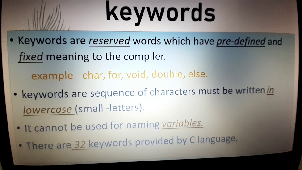 """Concept behind programming language """"C"""". What is a keyword ..."""