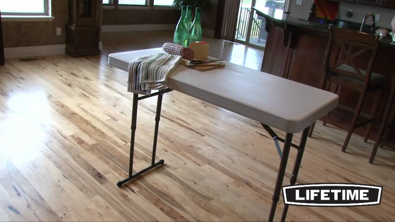 Foldable Chairs Lifetime 4 Ft Adjustable Folding Table (model 80161) - Youtube