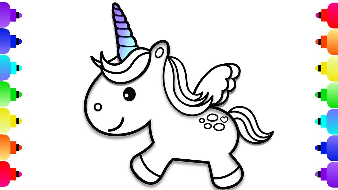 How to Draw a Baby Unicorn  Unicorn Coloring Pages for Kids  Unicorn  Coloring Book Learn to Draw