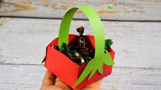 How to make a Paper Basket | Christmas Gift Basket | Easy Paper Crafts