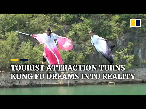 Chinese 'kung fu' tourist attraction lets visitors soar over a river