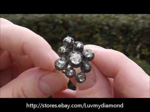 Georgian Antique 1 30ct Rose Cut Diamond Ring 18K Gold Heavy Estate Jewelry