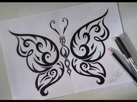 Como Desenhar Borboleta Tribal Estilo Tattoo Youtube