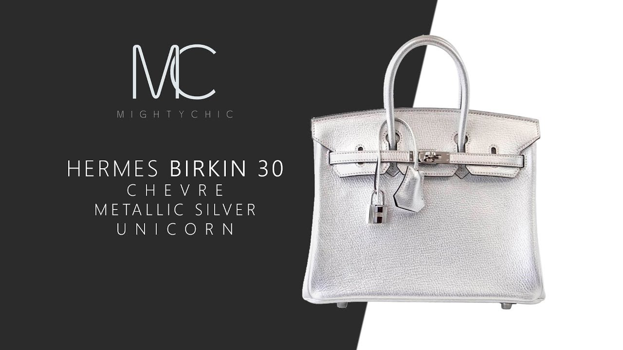 76cc590c1f MIGHTYCHIC • Hermes Birkin 30 Chevre Metallic Silver Unicorn - YouTube