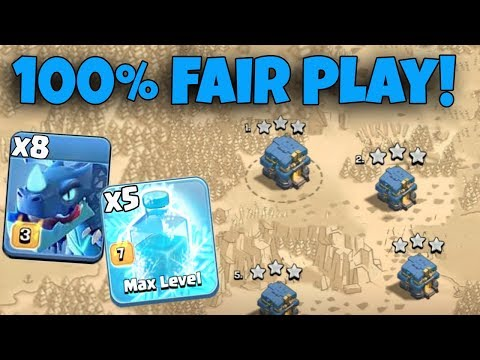 100% Fair Play 8 Max Electro Dragon 5 Max Freeze Spell Lvl60 Heroes Destroy 3Star Any TH12 War Bases