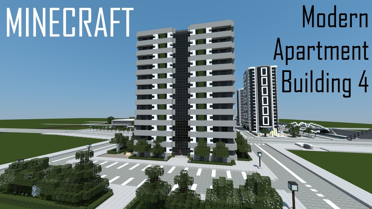 Minecraft Modern Apartment Building 4 (full Interior) + Download