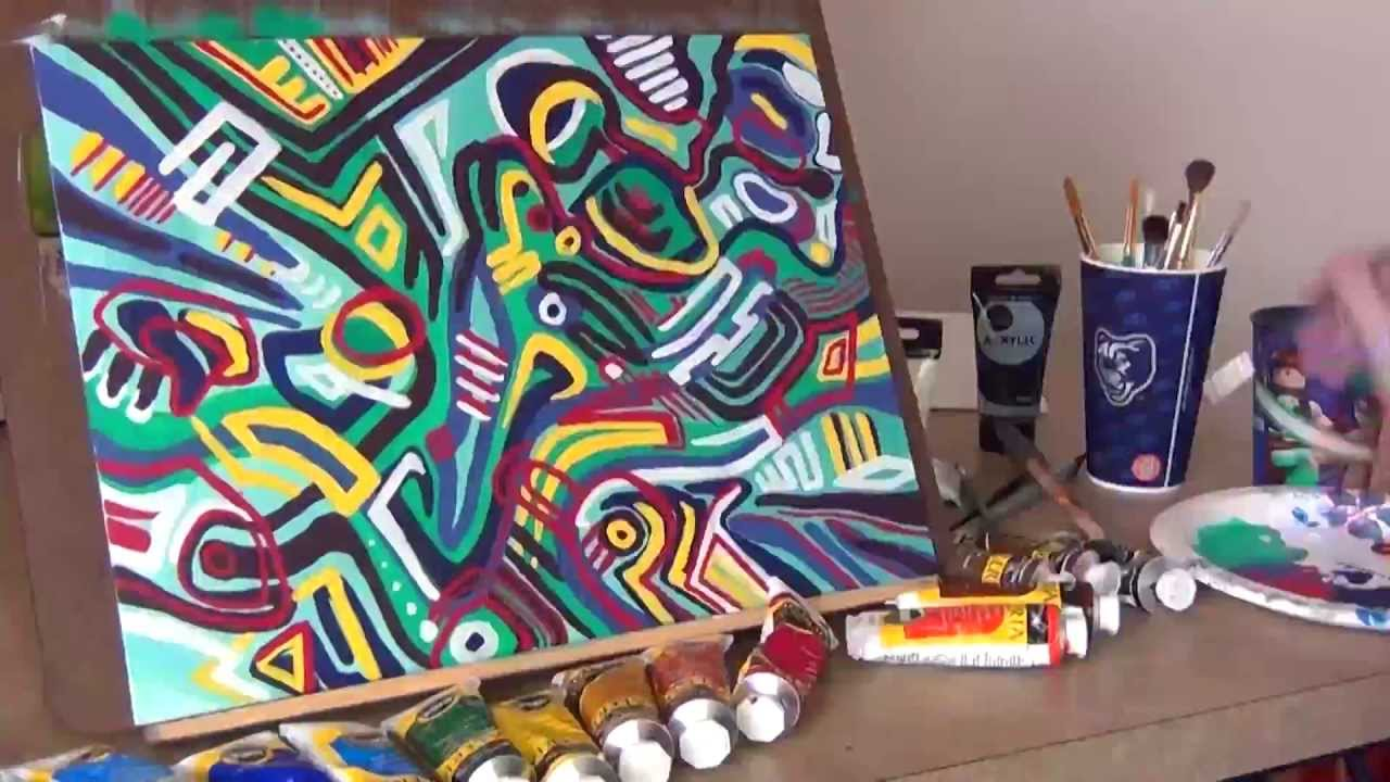 Crazy Colorful Abstract Painting Time Lapse