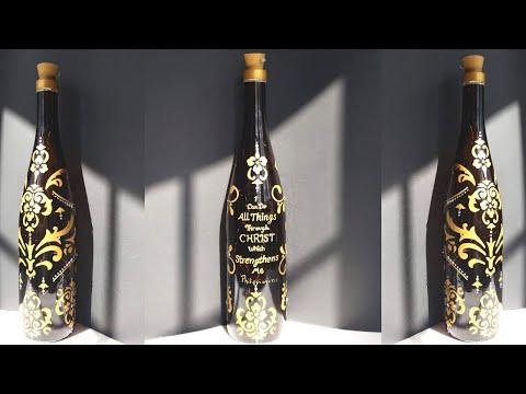 diy-wine-bottle-design-using-stencils- -bottle-art- -wine-bottle-crafts- -hd