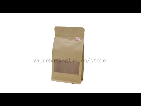 363 box bottom kraft paper bag with matte window