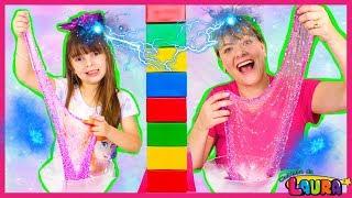 Twin Telepathy Slime Challenge Laurinha vs  Mommy! Slime por telepatia