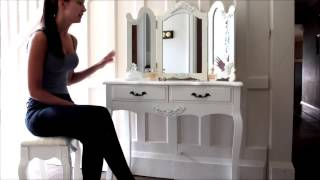 Firth Range - Ivory Cream Dressing Table With Triple Mirror And Stool : Www.melodymaison.co.uk