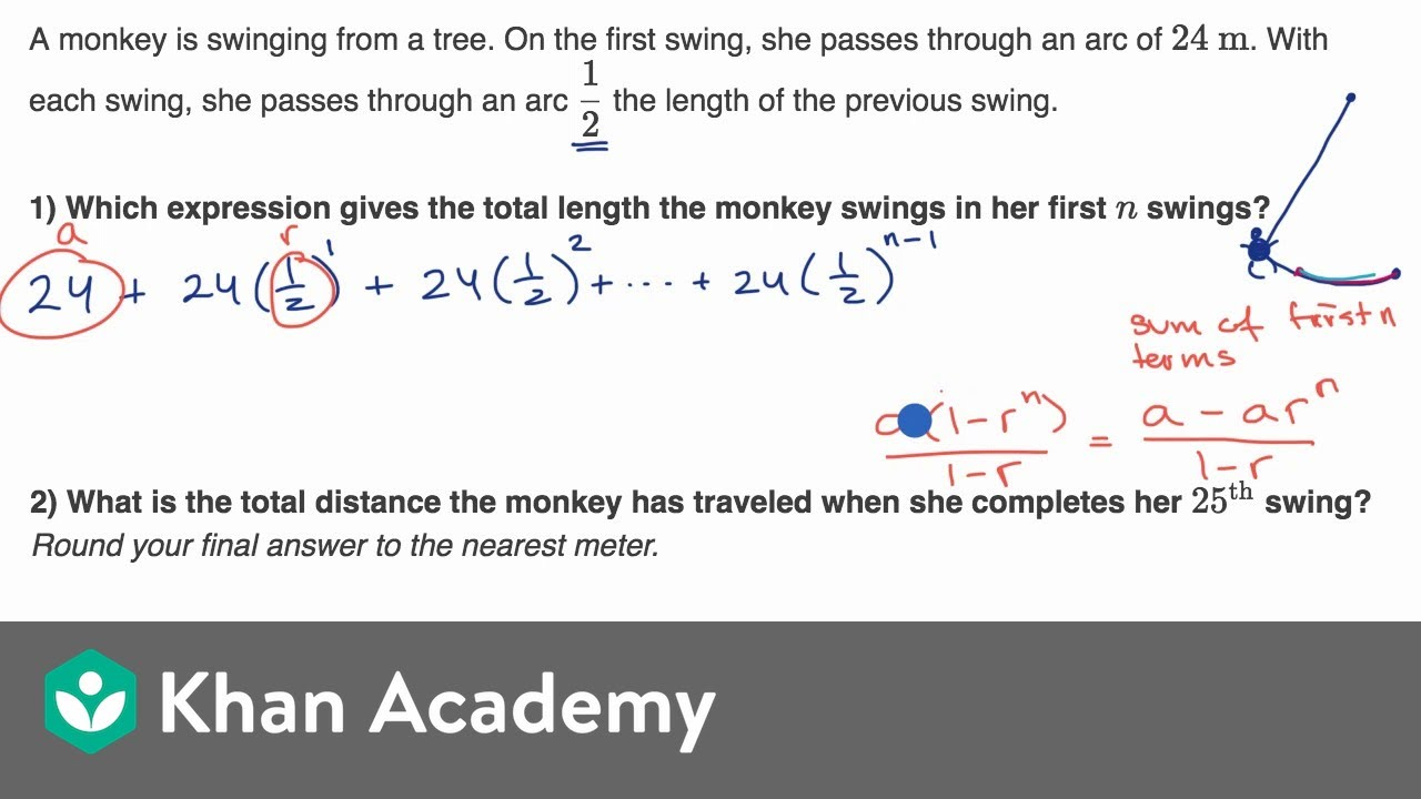 small resolution of Geometric series word problems: swing (video)   Khan Academy