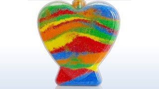 How to Make Rainbow Heart with Colored Sand for Kids. Learn Colors with Sand for Children