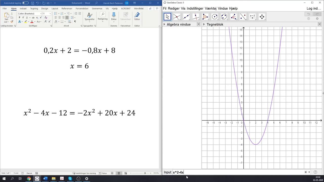 Grafisk løsning af ligninger vha  GeoGebra