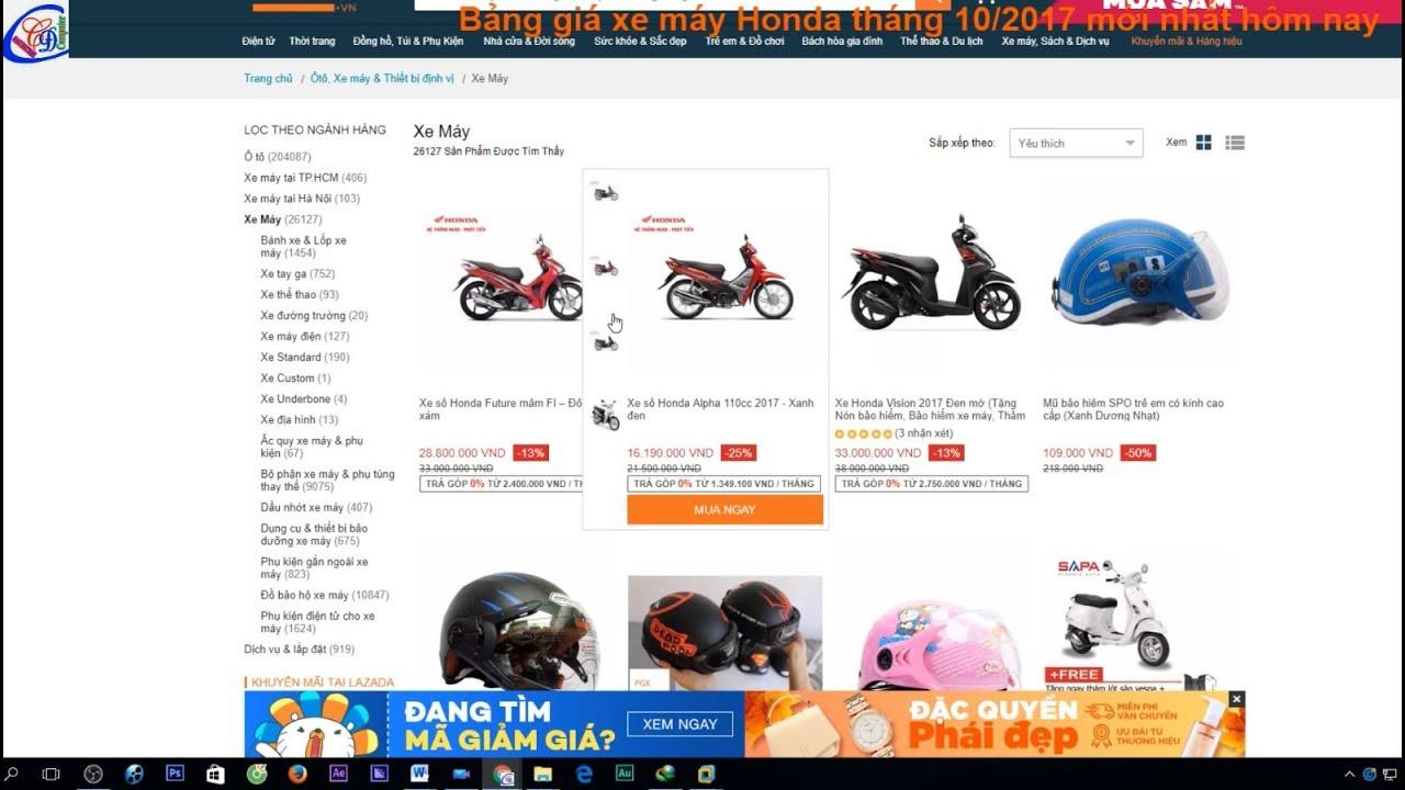 Mua xe máy trực tuyến bảng giá xe máy HONDA tháng 2/2018